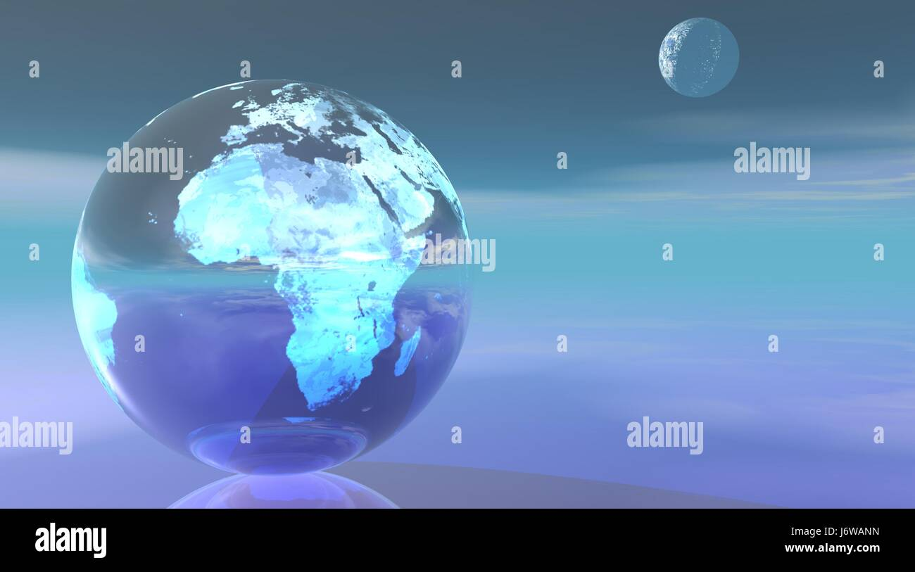 blue universe moon globe planet earth world map atlas map of the world blue - Stock Image