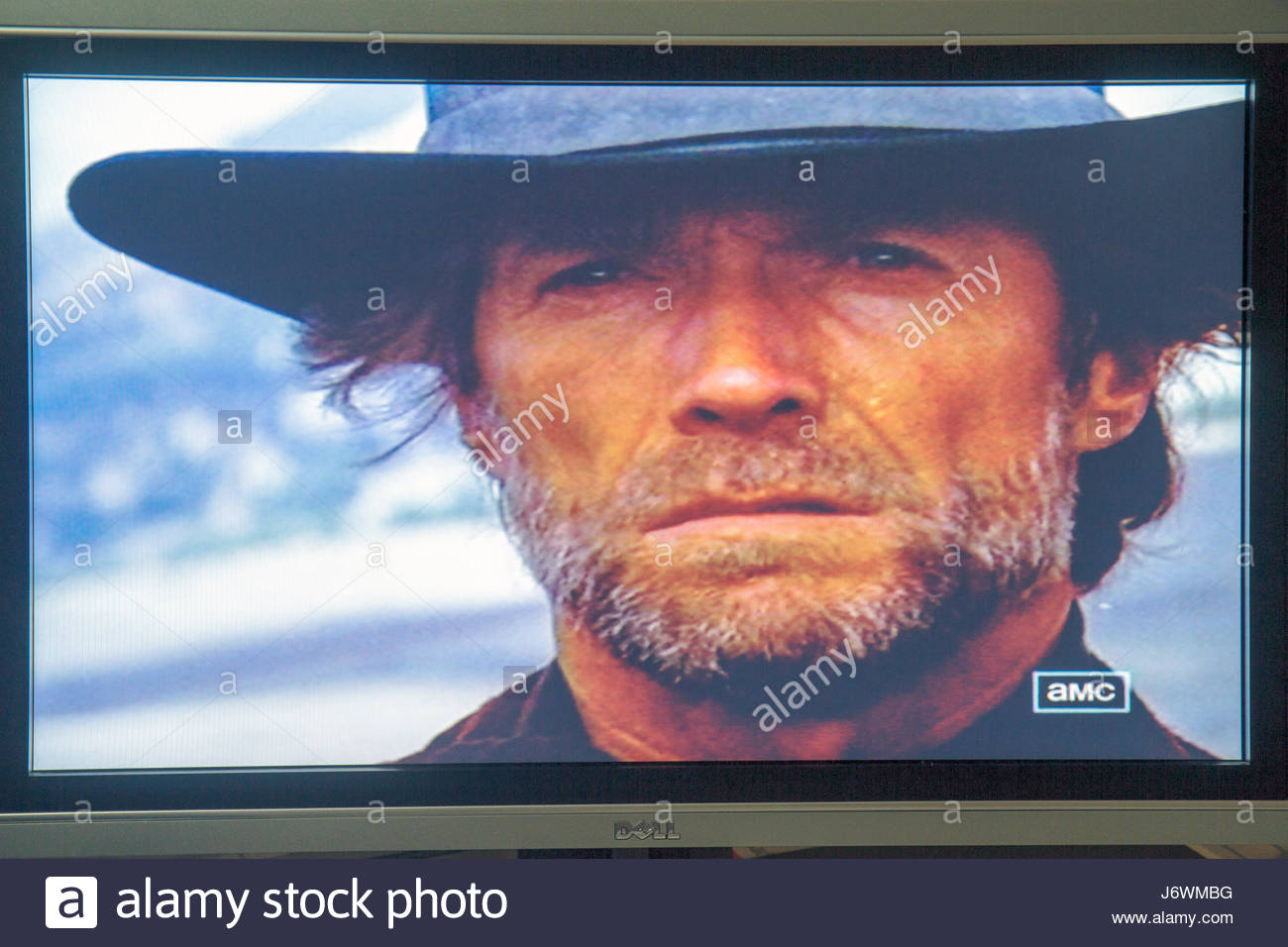 Miami Beach Florida television TV flat panel screen monitor cable channel AMC Clint Eastwood - Stock Image