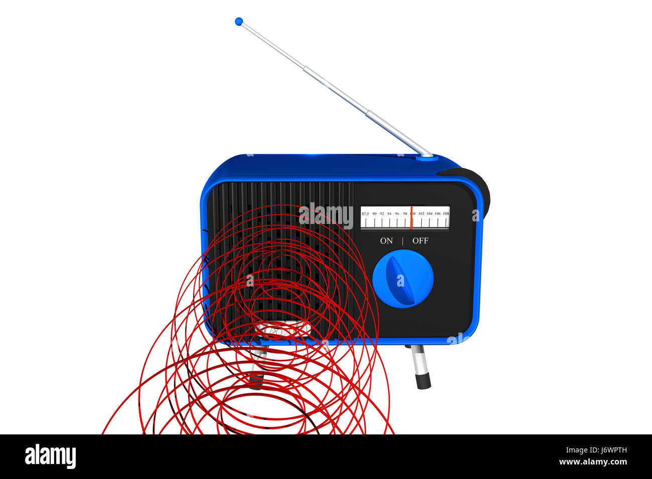 music antenna radio retro addressee receiver blue listen object music sound - Stock Image
