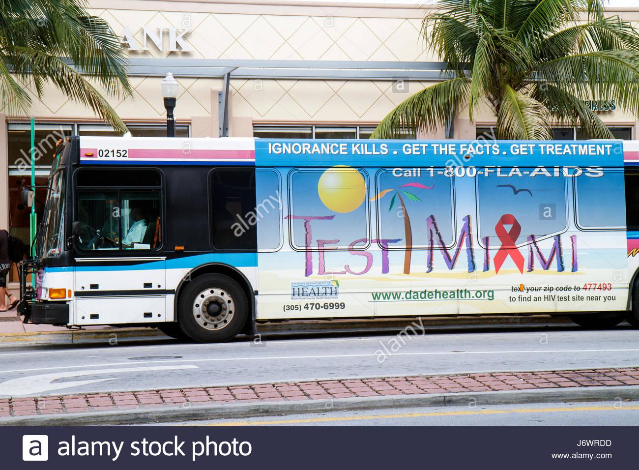 Miami Dade Metrobus Public Bus Transportation Stock Photos