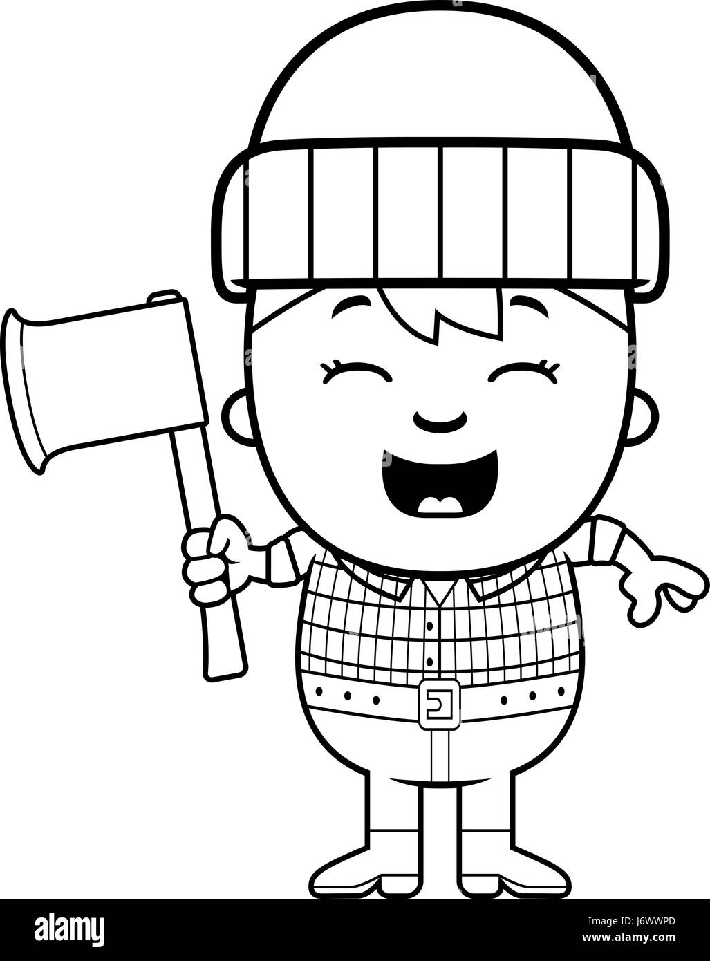 cartoon illustration little lumberjack smiling stock photos  a cartoon illustration of a little lumberjack with an axe stock image