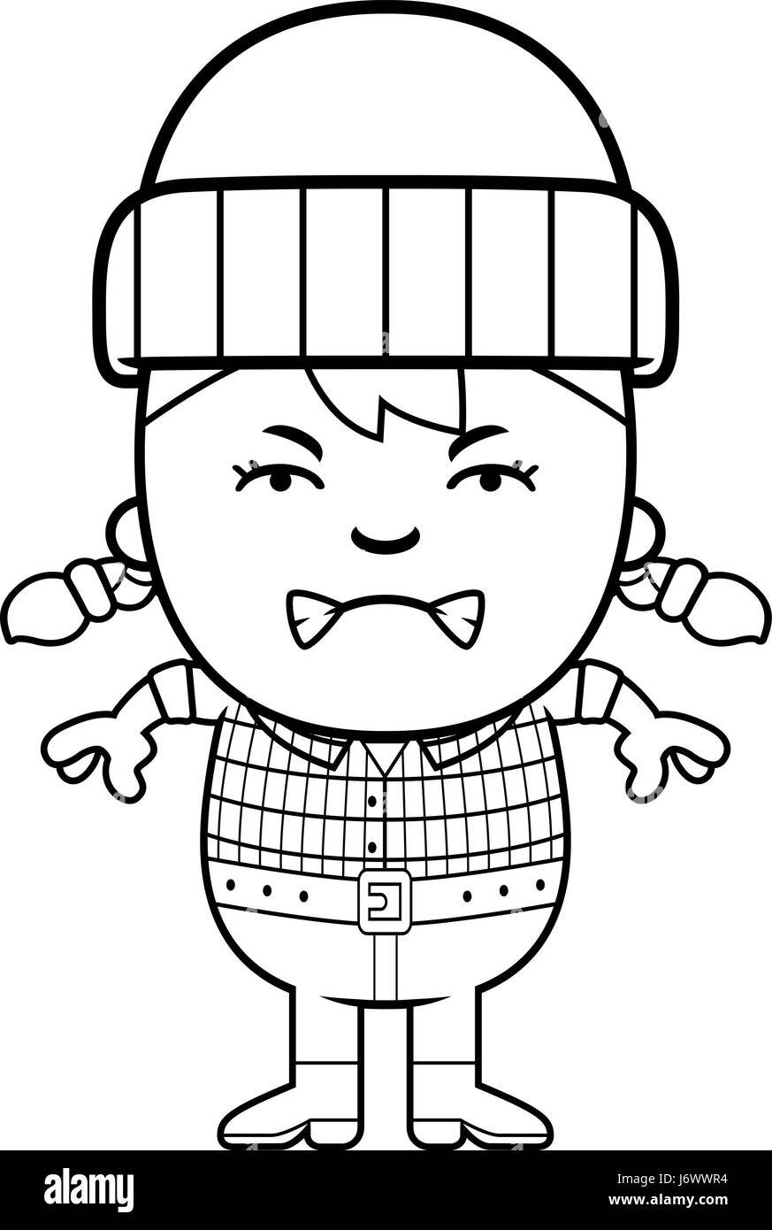 a cartoon illustration of a little lumberjack looking angry stock  a cartoon illustration of a little lumberjack looking angry