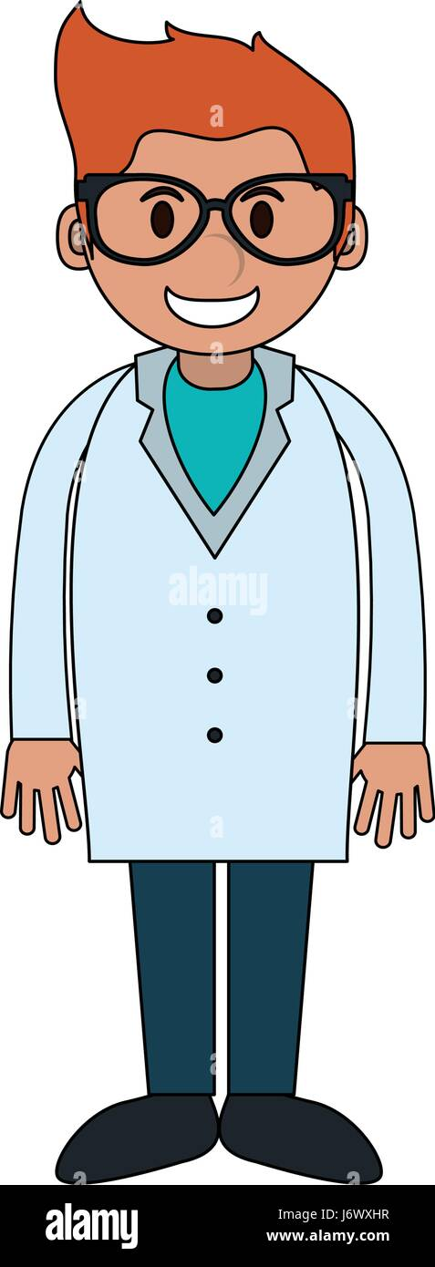 color image cartoon full body young male veterinarian - Stock Vector