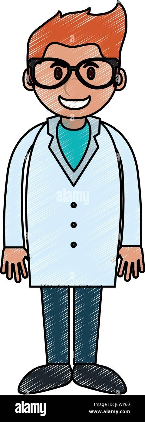 color pencil cartoon full body young male veterinarian - Stock Vector