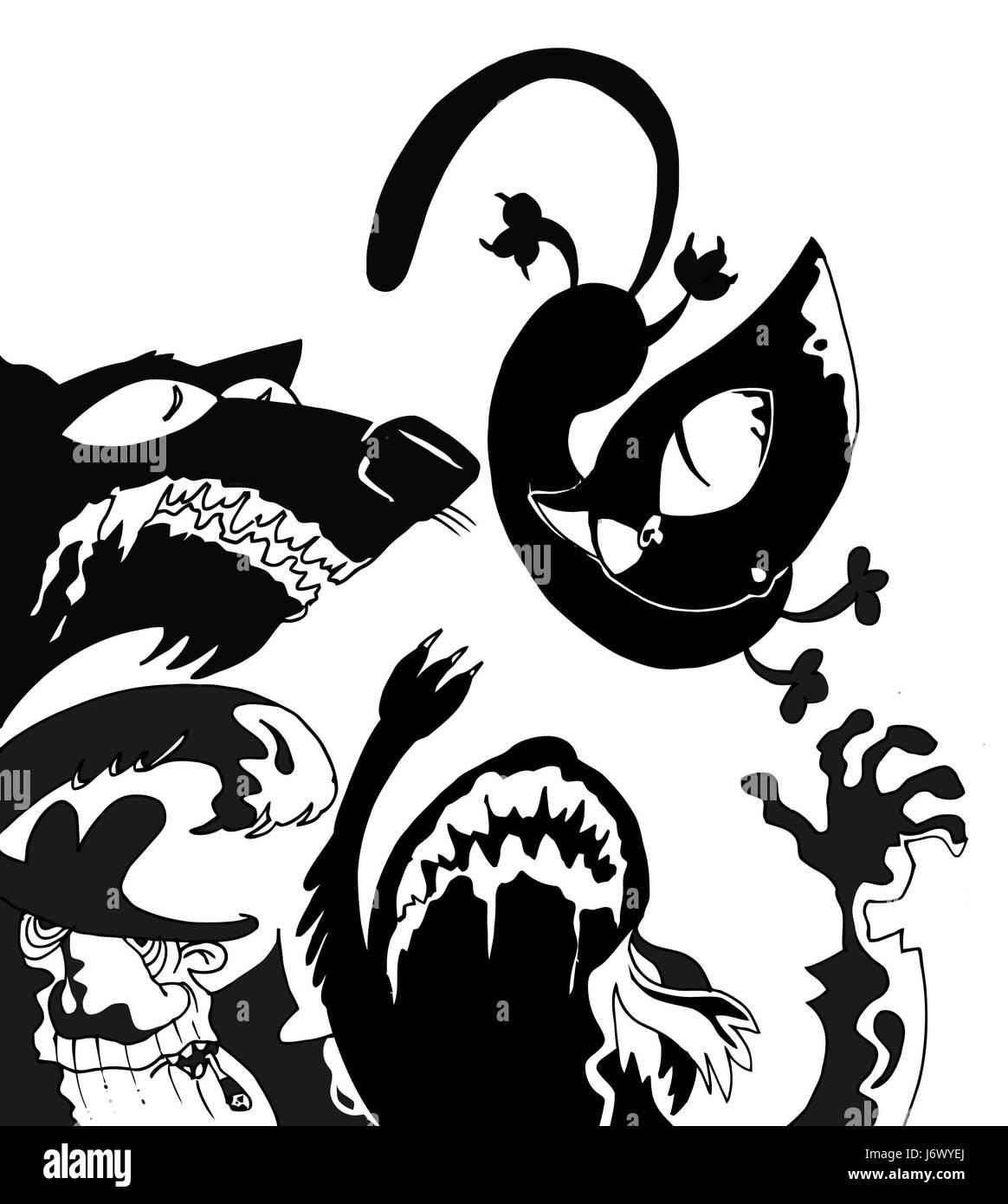 fight fighting black swarthy jetblack deep black dog pussycat cat domestic cat - Stock Image