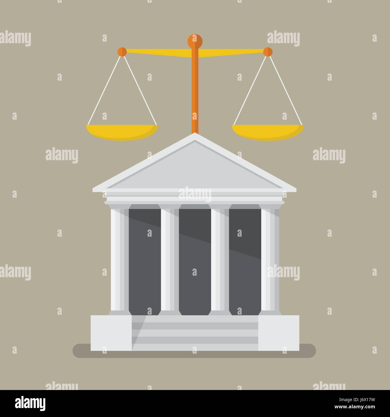 Court building with scales of justice. Flat style vector illustration - Stock Vector
