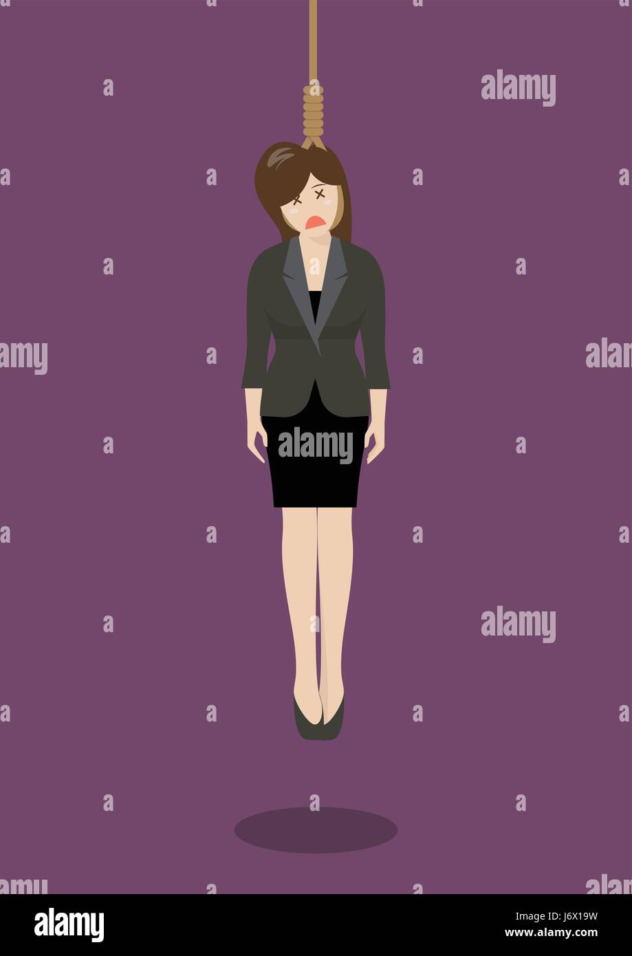 Hanged businessman. Business concept - Stock Vector