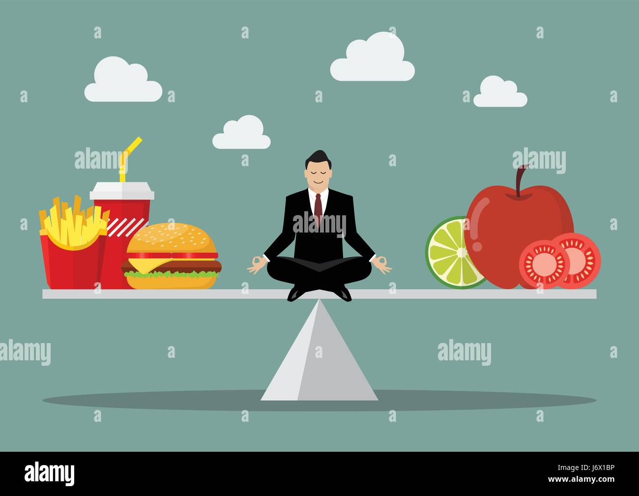 Man balancing between junk food and healthy food. Healthy lifestyle concept - Stock Vector