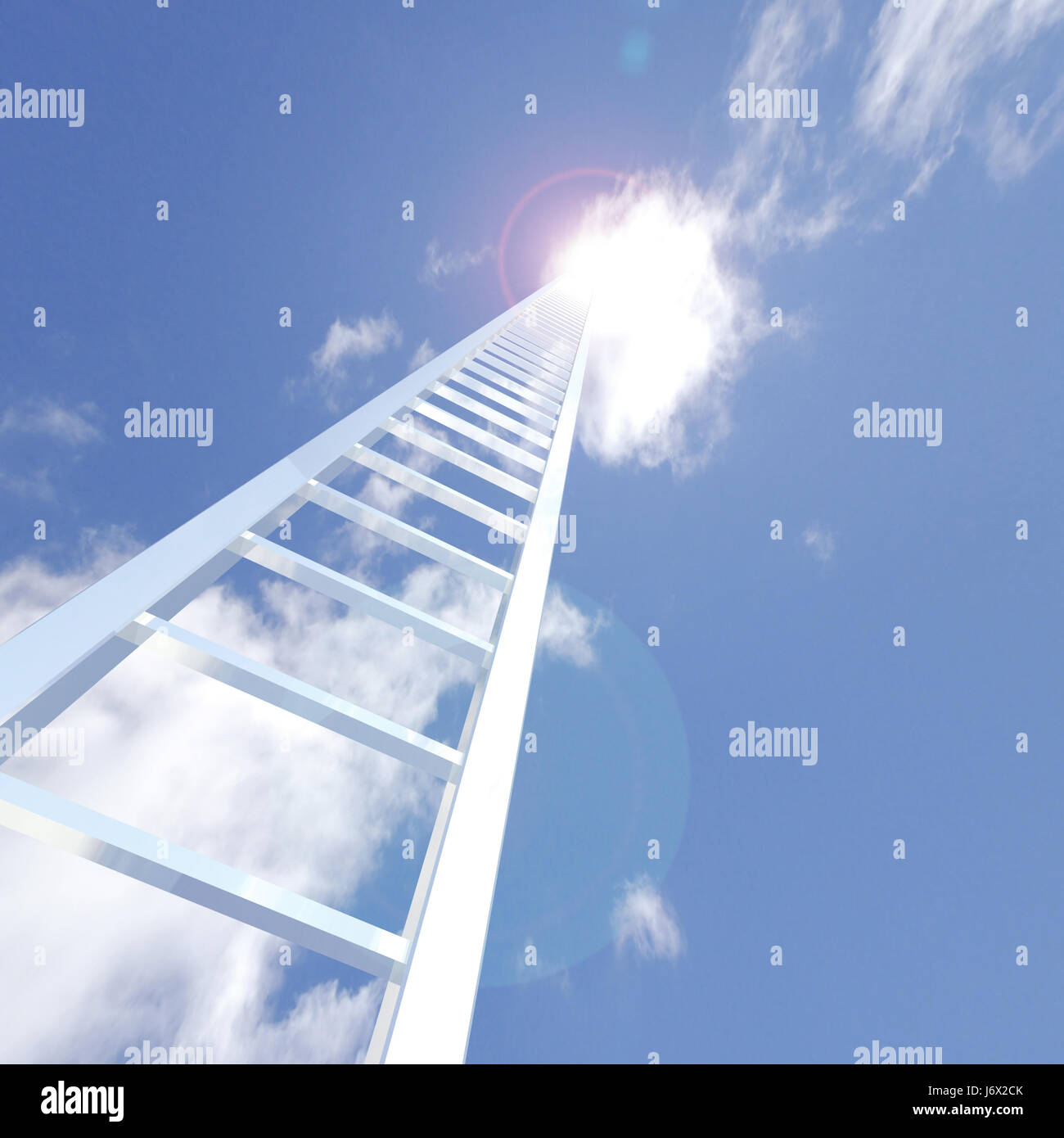 blue career up on clouds ladder white reach religion religious church model - Stock Image