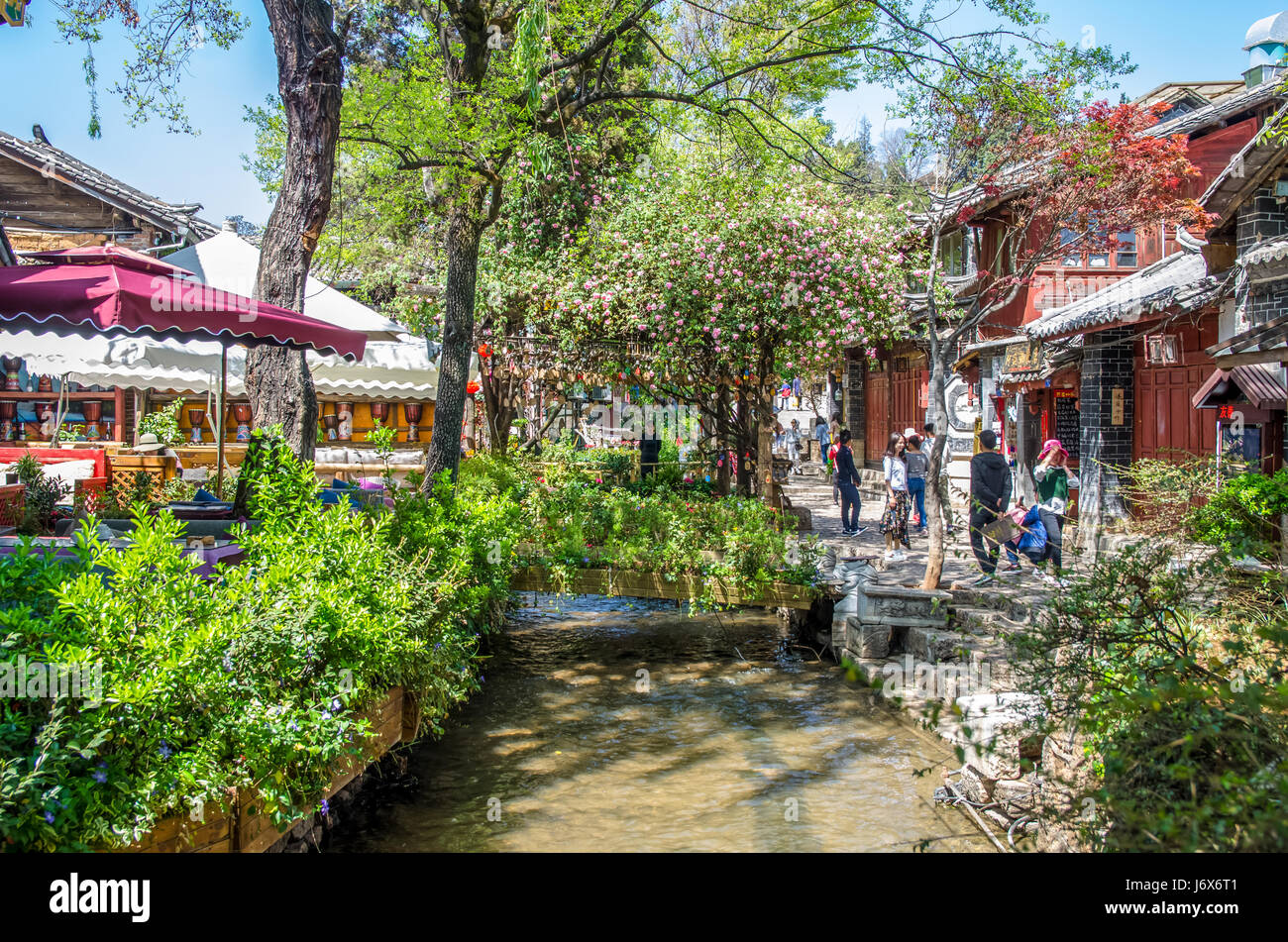 Lijiang, China - April 10,2017 : Scenic view of the Old Town of Lijiang in Yunnan, China.It is also a UNESCO World - Stock Image