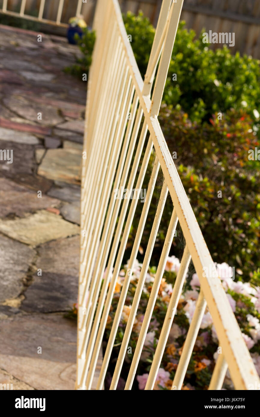 Porch hand rail, showing leading lines Stock Photo