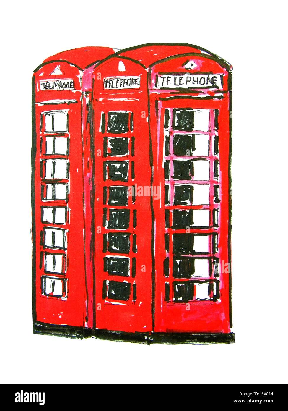 phone booths in london - Stock Image