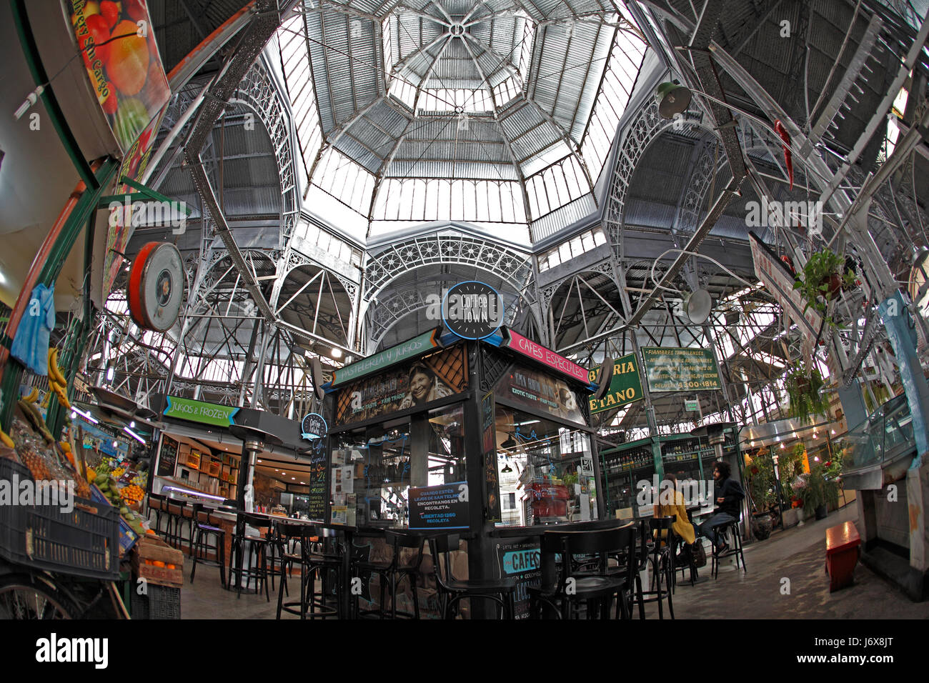 San Telmo indoor market, Tourist attraction for antiques and coffee in Buenos Aires, Argentina. Stock Photo