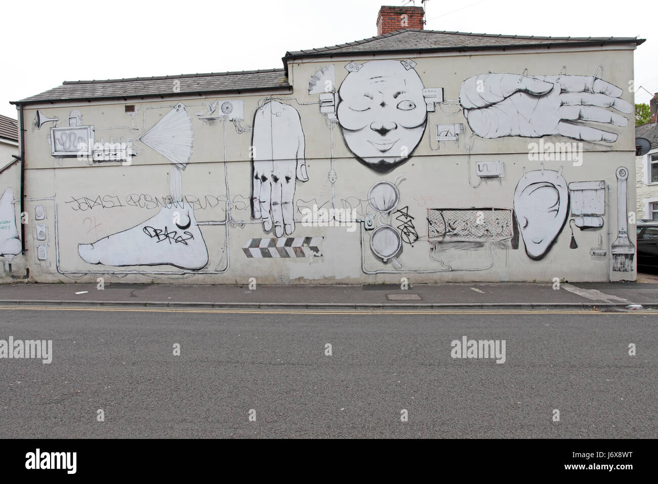 Body Parts Factory Wall Mural On A House In Cardiff Stock