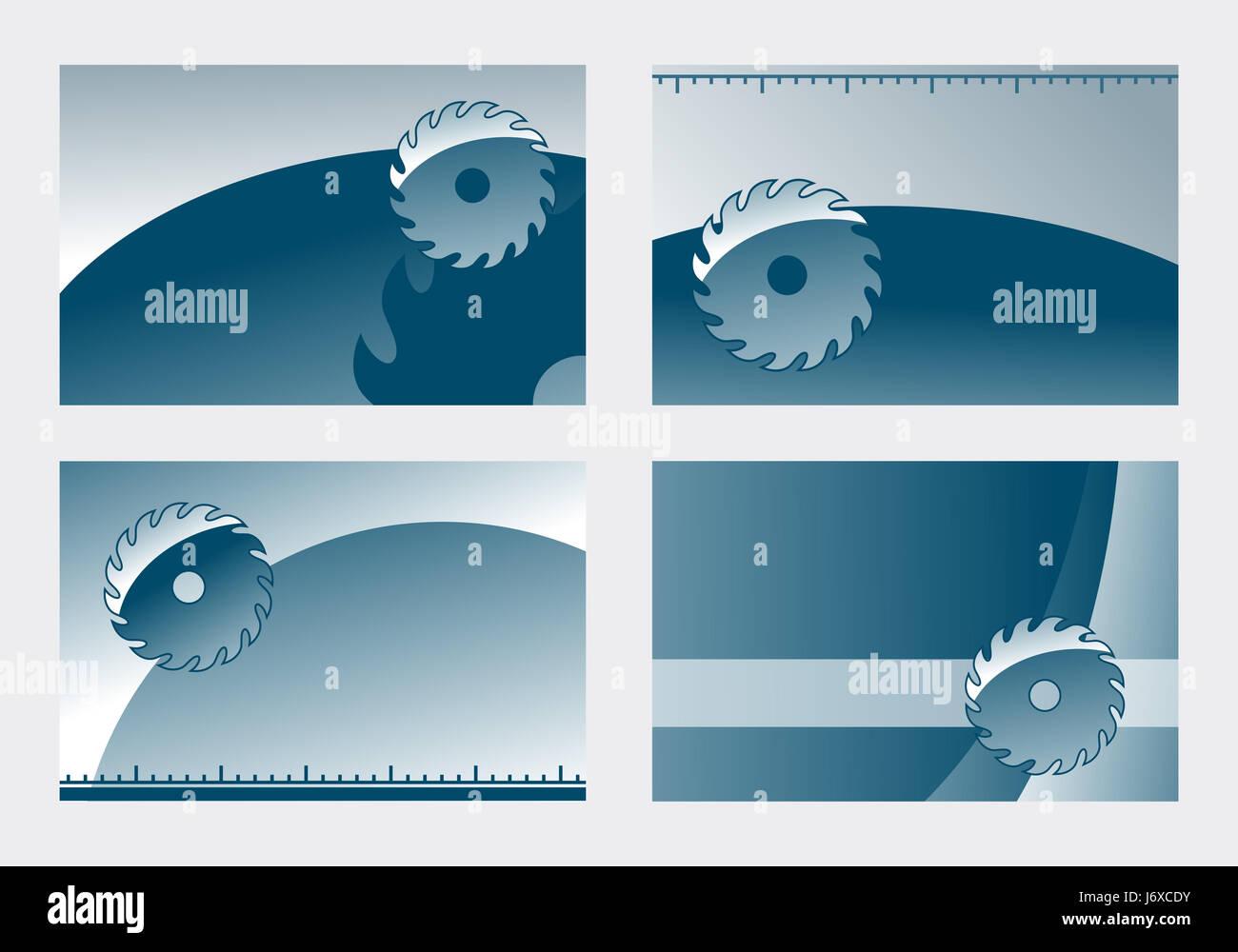 tool teeth illustration saw myth say circular saw visiting card joinery saw - Stock Image