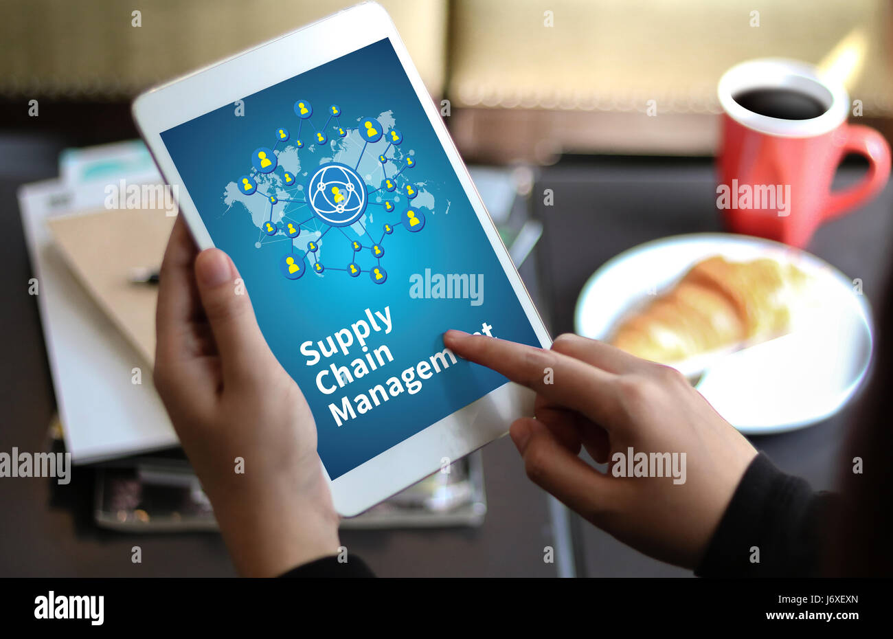 SCM Supply Chain Management concept Modern people doing business, graphs and charts being demonstrated - Stock Image