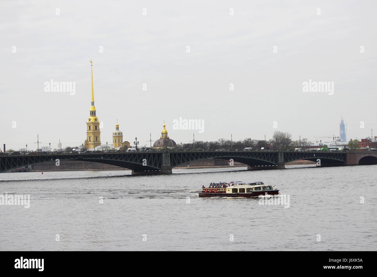 Peter and Paul Fortress, the navigable river Fontanka, along which the boat sails with excursion, St. Petersburg Stock Photo