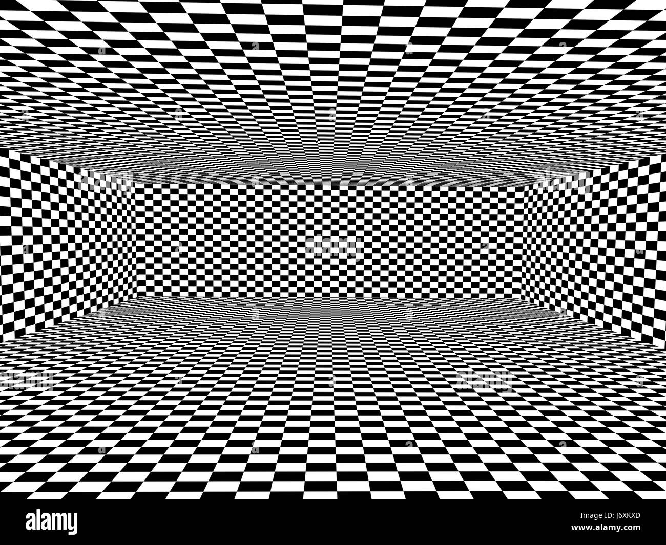 Black and white background with box shape with checkered pattern 3d render