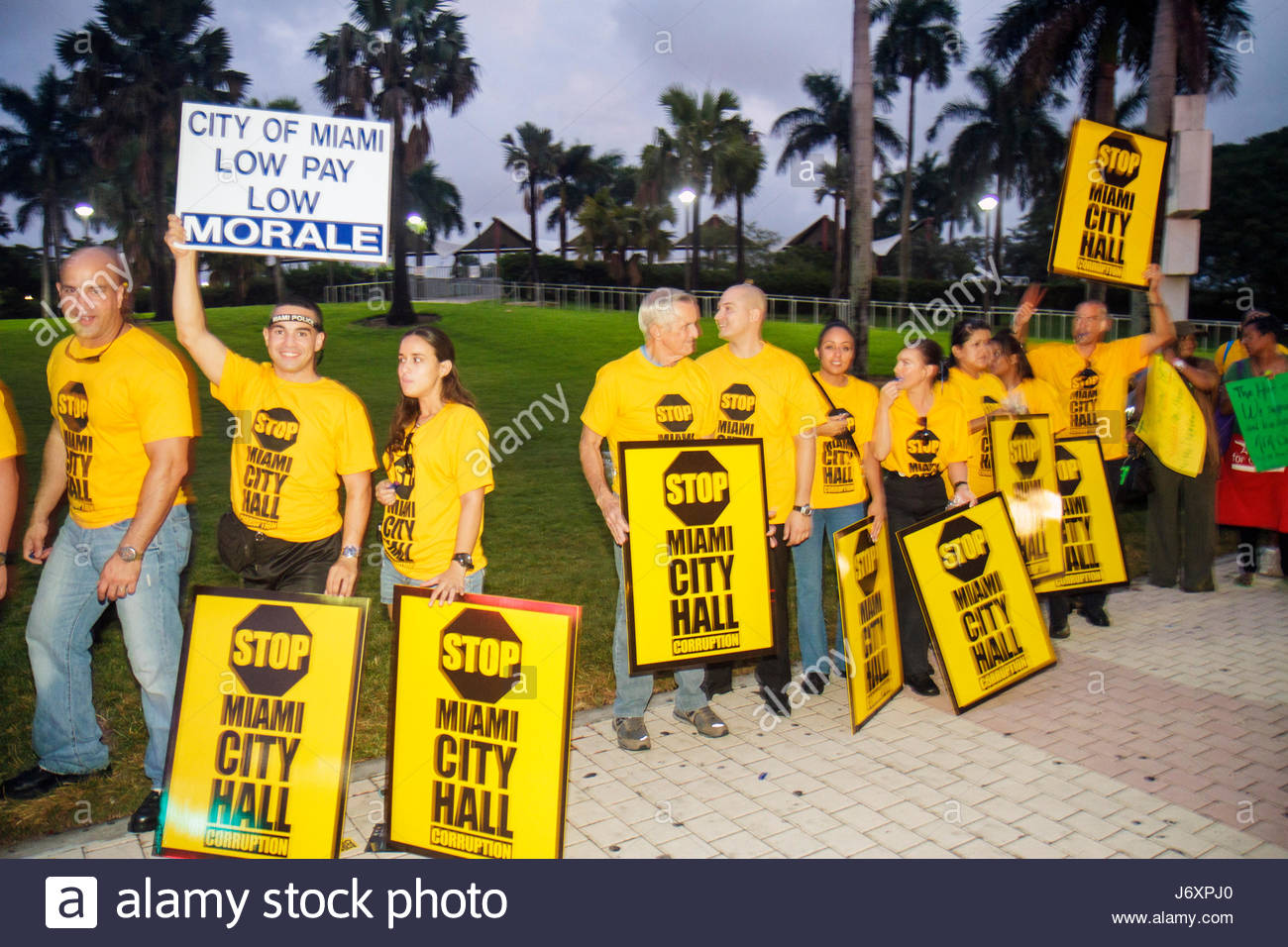 Miami Florida Biscayne Boulevard protesters protesting police policemen firefighters firemen city employees budget Stock Photo