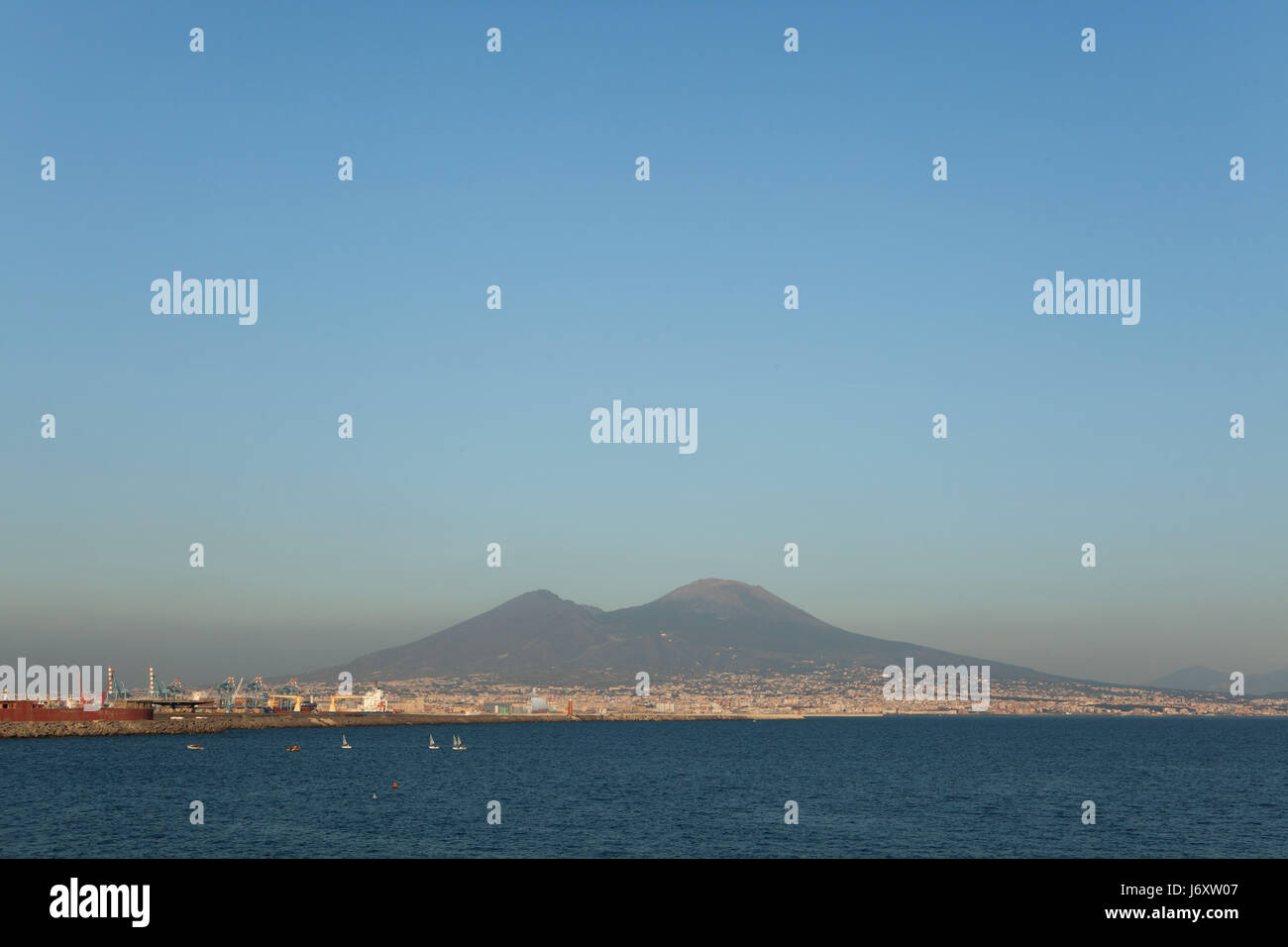 Mount Vesuvius and the Gulf of Naples pictured from Naples, Campania, Italy. - Stock Image