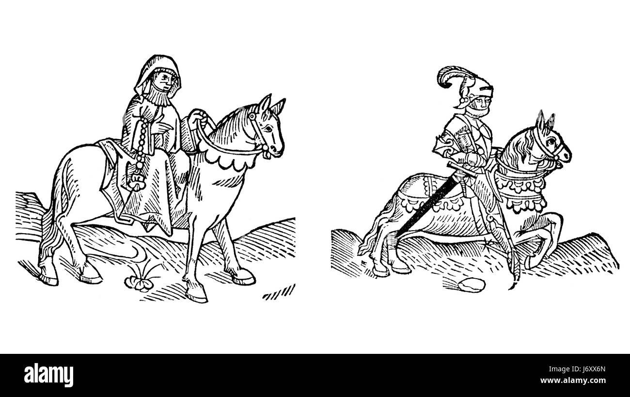 william tales woman art horse wood riding cut print nun medieval pilgrimage - Stock Image