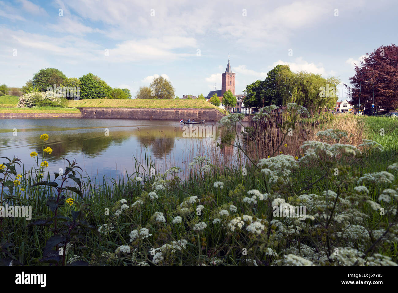 NAARDEN - NETHERLANDS - MAY 13, 2017: Naarden is an example of a star fort, complete with fortified walls and a Stock Photo
