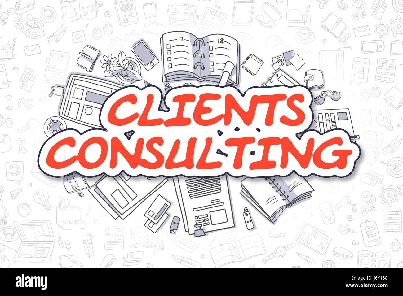Clients Consulting - Cartoon Red Word. Business Concept. Stock Photo