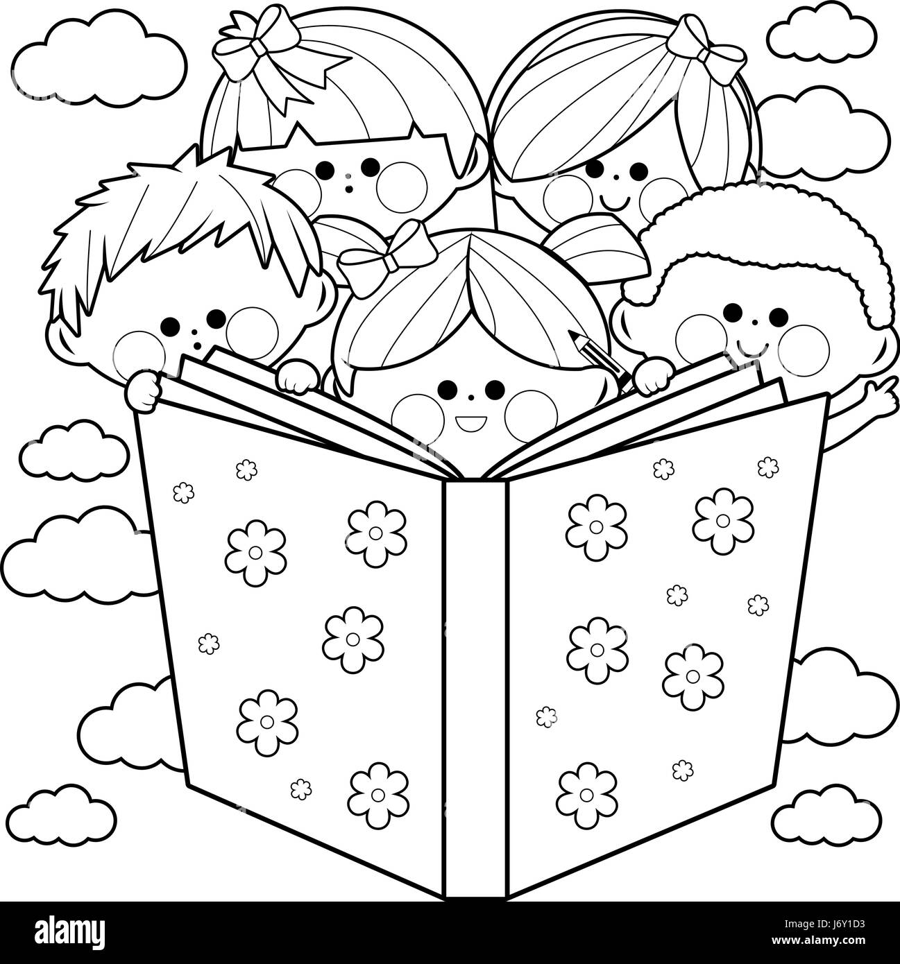 Group of kids reading a book coloring book page