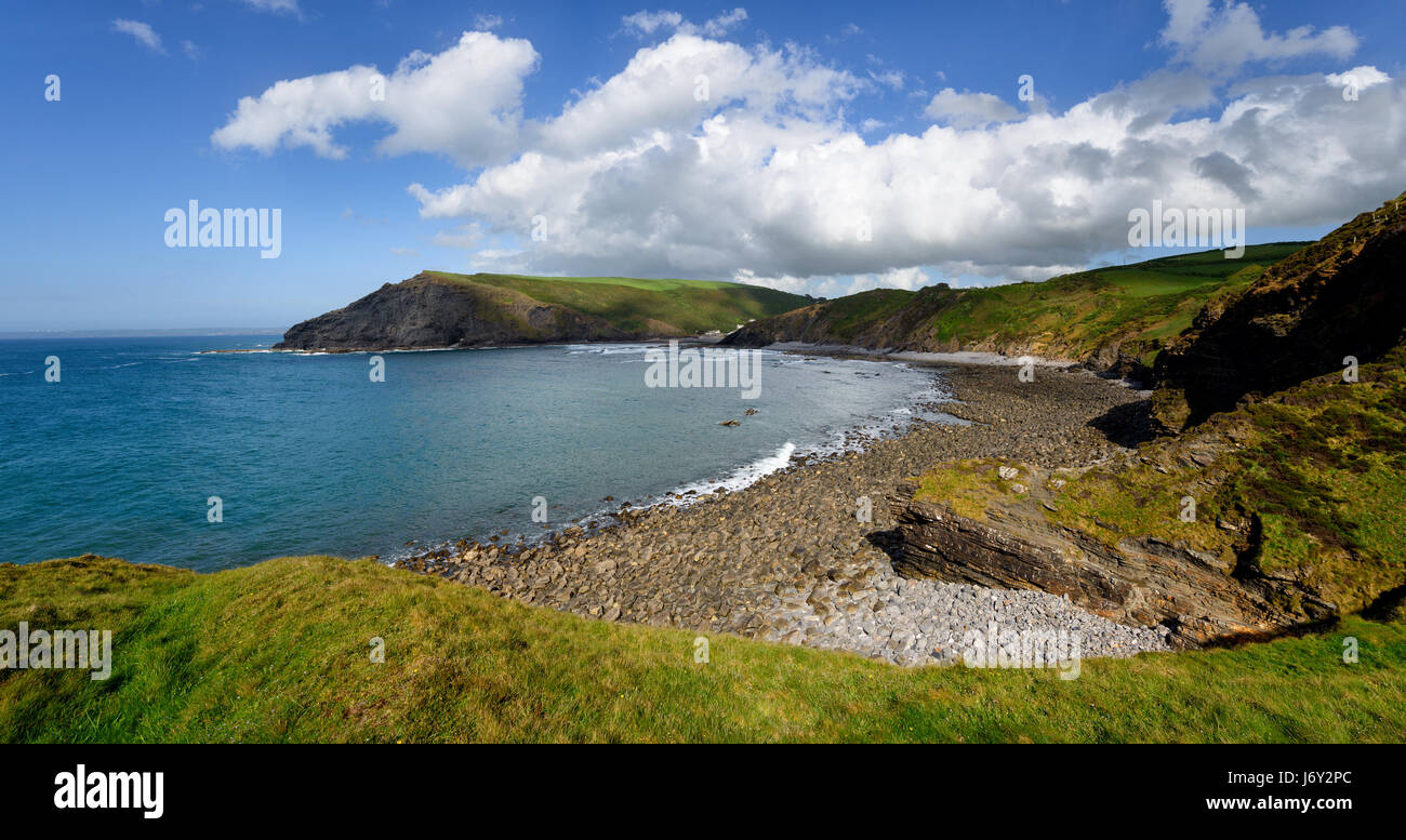 Panoramic view of the beach and cliffs at Crackington Haven near Bude on the north coast of Cornwall, from the foot - Stock Image