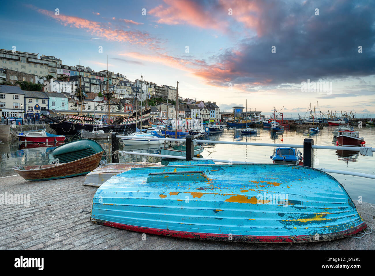 Boats in the harbour at Brixham on the south coast of Devon - Stock Image