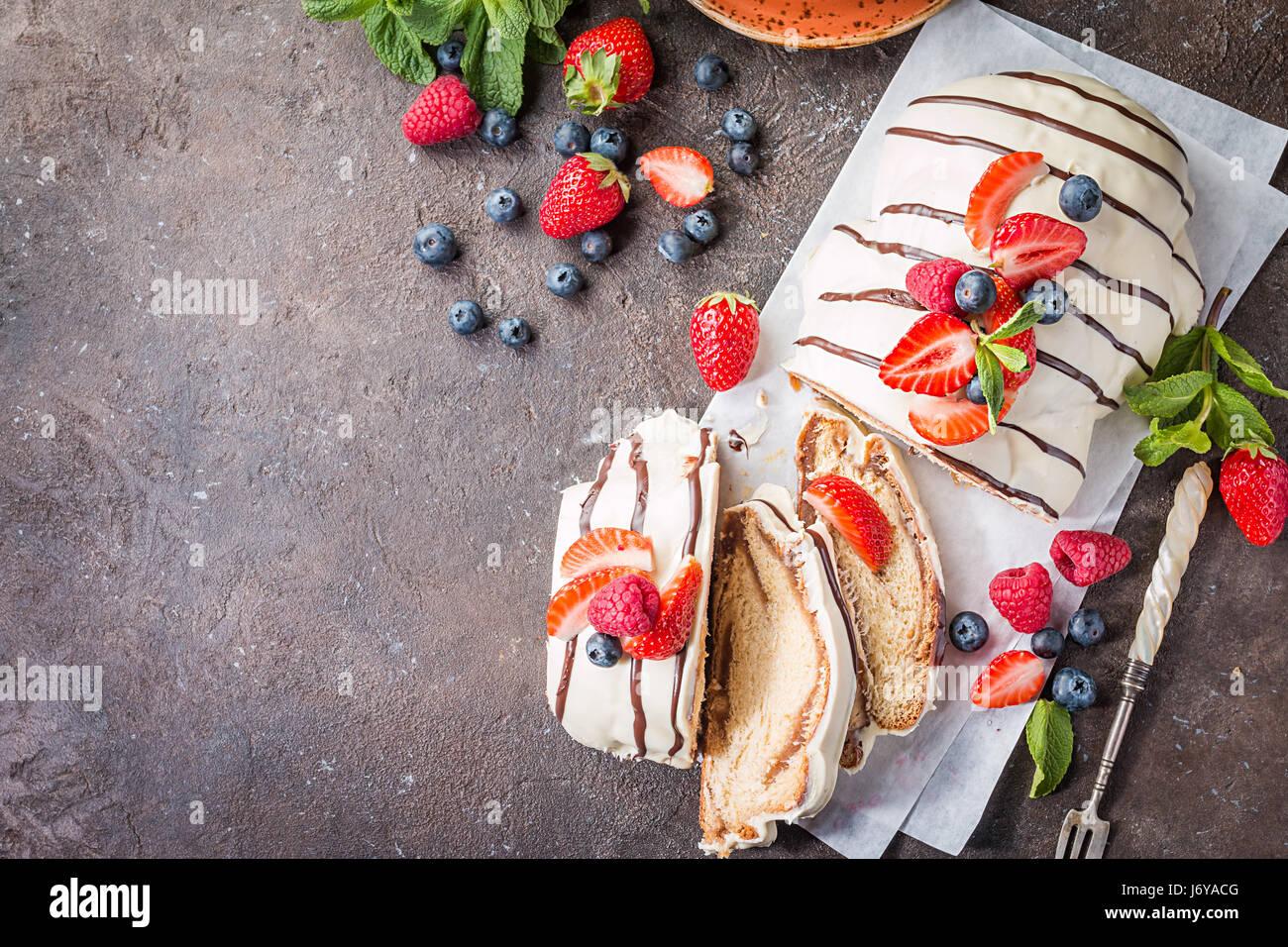 Fresh braided bread - Stock Image