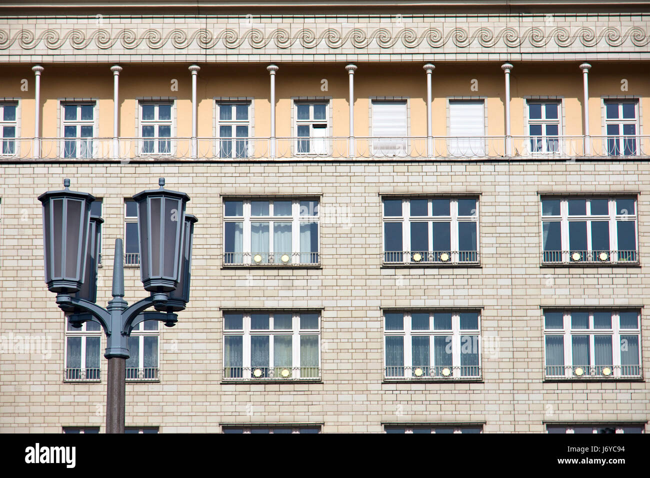 window porthole dormer window pane berlin facade lantern shiner light lamp - Stock Image