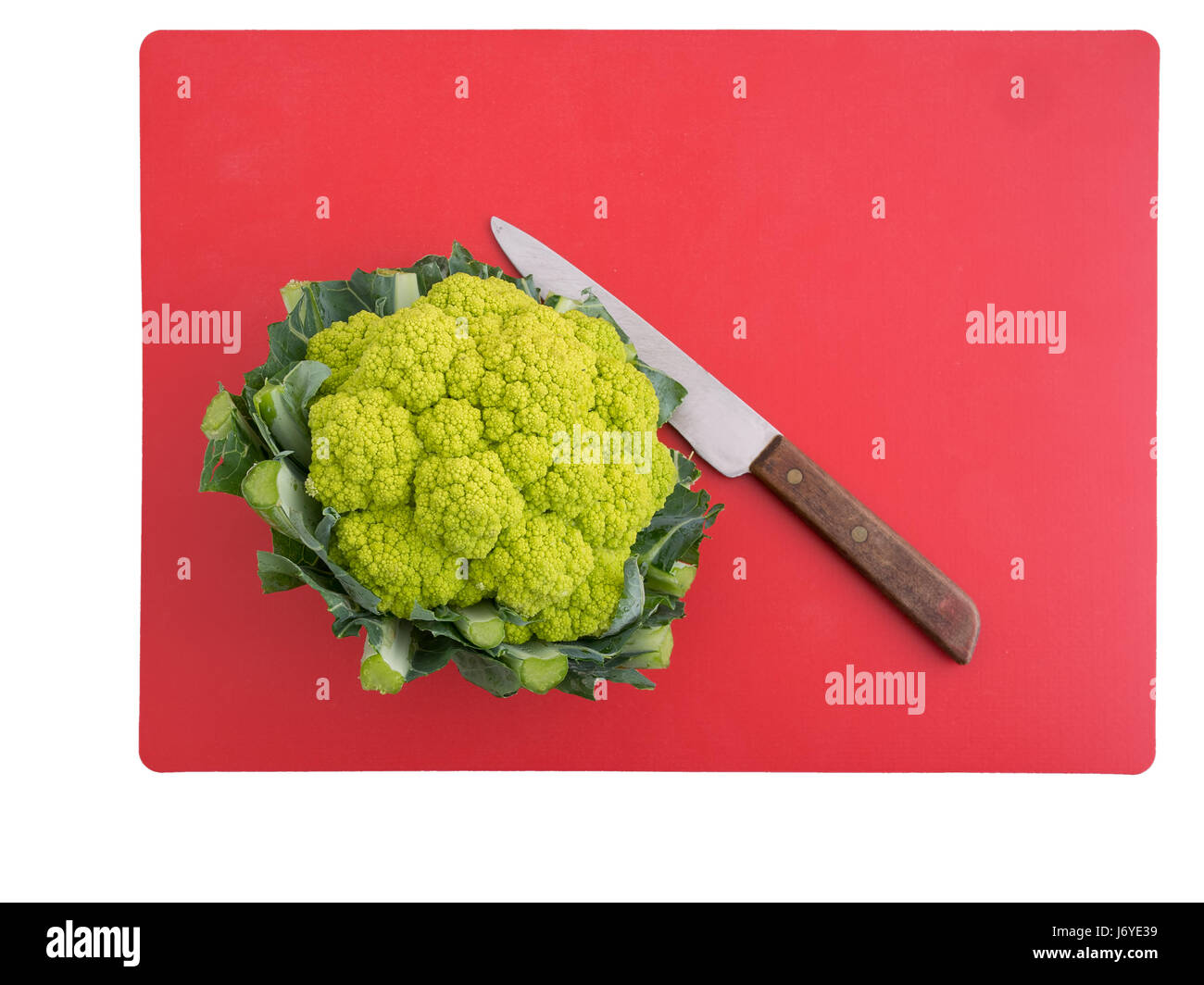 Green cauliflower. Healthy vegetable high in vitamins, minerals and micro nutrients. - Stock Image