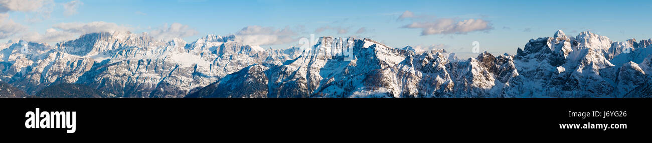 sport sports mountains winter dolomites alps tip peak frozen peaceful sight - Stock Image