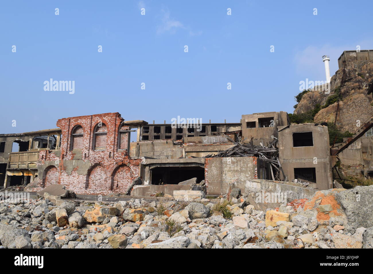 Battleship island near Nagasaki Japan Stock Photo
