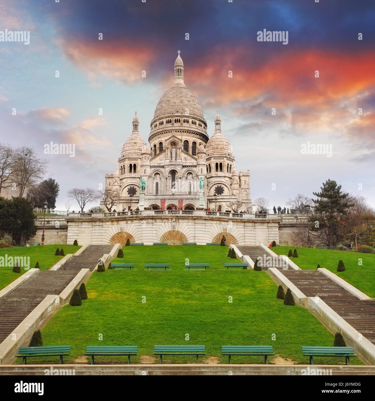 Sacre Heart Basilica of Montmartre in Paris, France - Stock Image