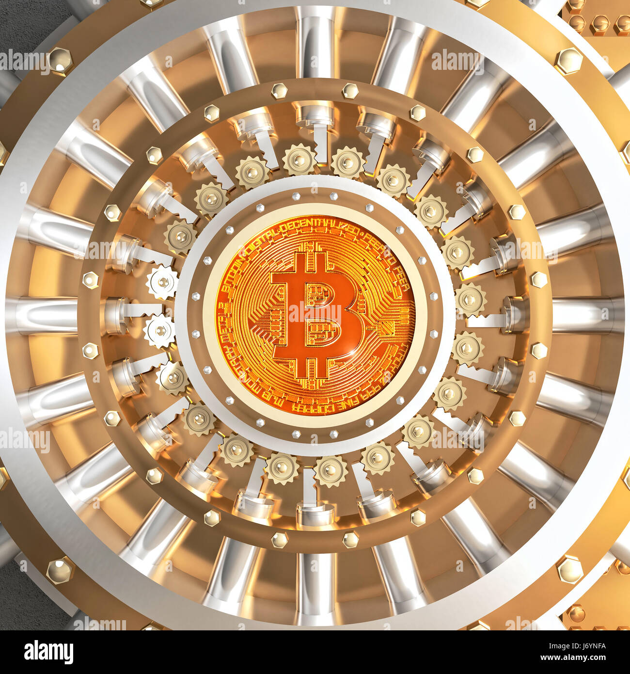 concept of bitcoin crypto currency safe 3d rendering image - Stock Image
