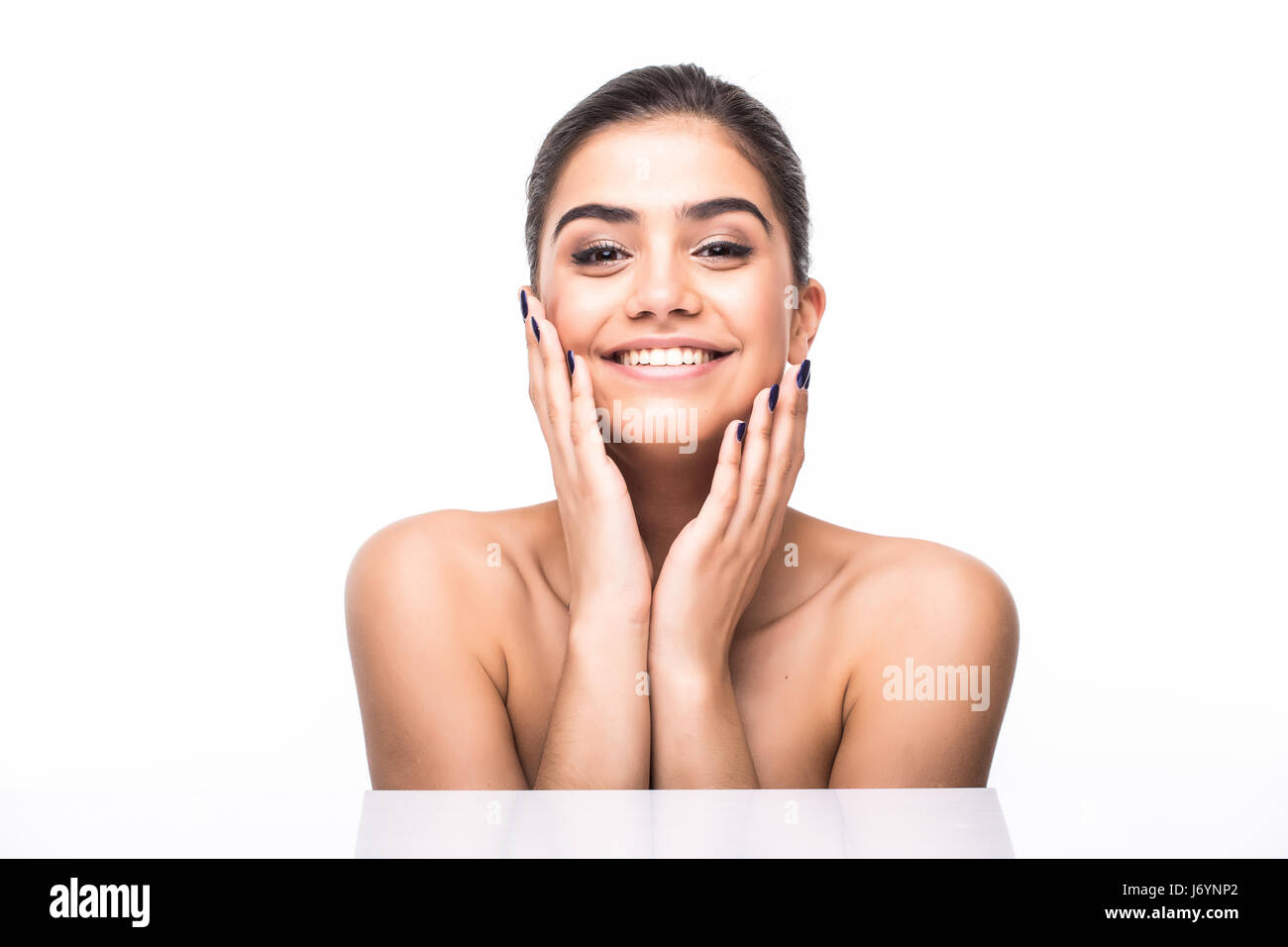 Beautiful woman face. Caucasian young girl close up portrait. lips, skin, teeth isolated on white background. Stock Photo