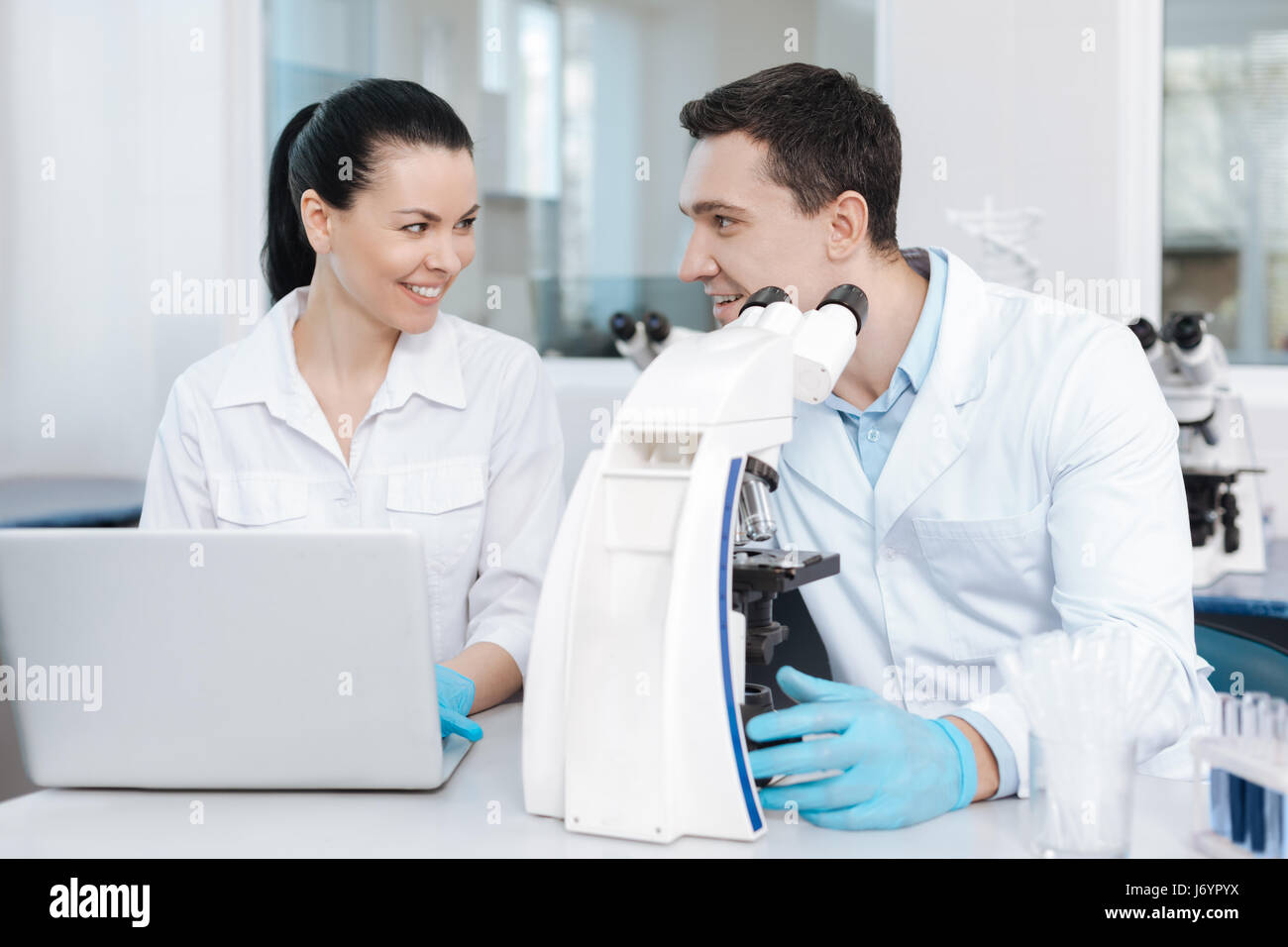 Positive delighted couple of analysts working together - Stock Image