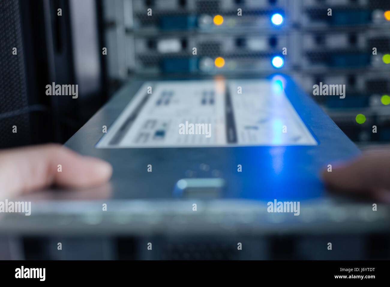 Blurred image of a rack server - Stock Image