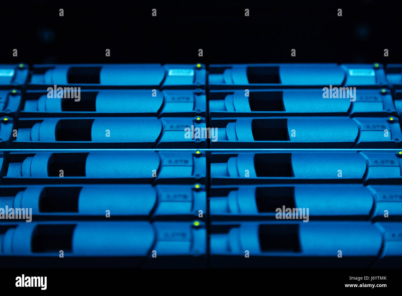 Close up of hard drives being used for collecting information - Stock Image