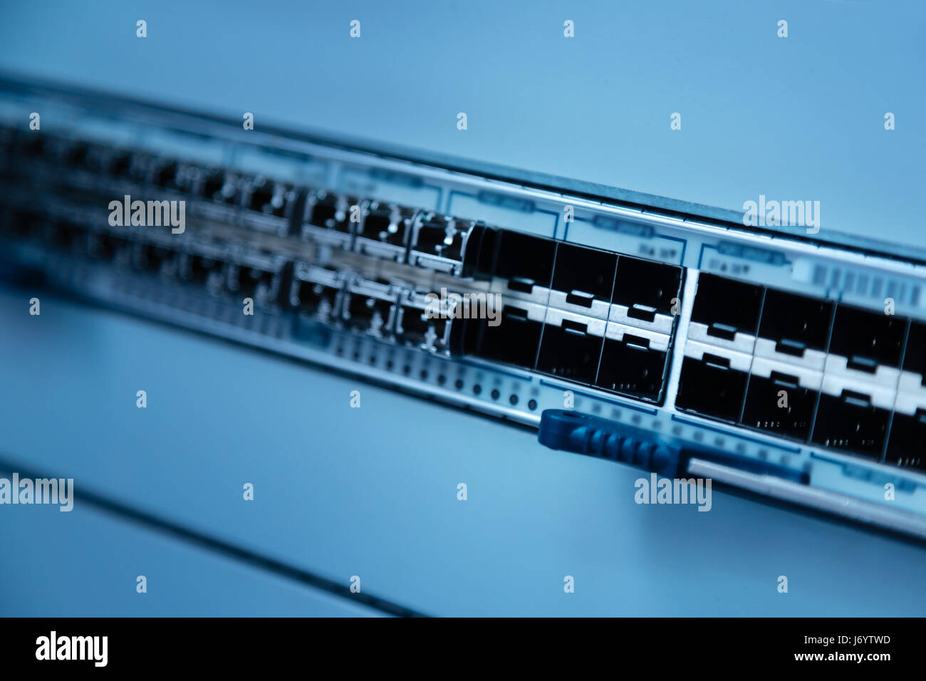 Close up of switch panel for LAN cables Stock Photo