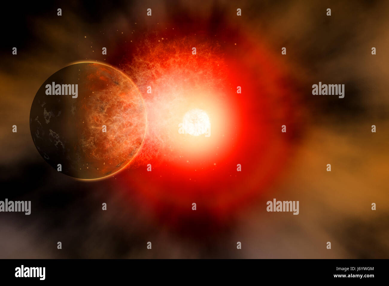 A Dying Star Becoming A Supernova, Destroying Anything In Its Path , Including Orbiting Planets. - Stock Image