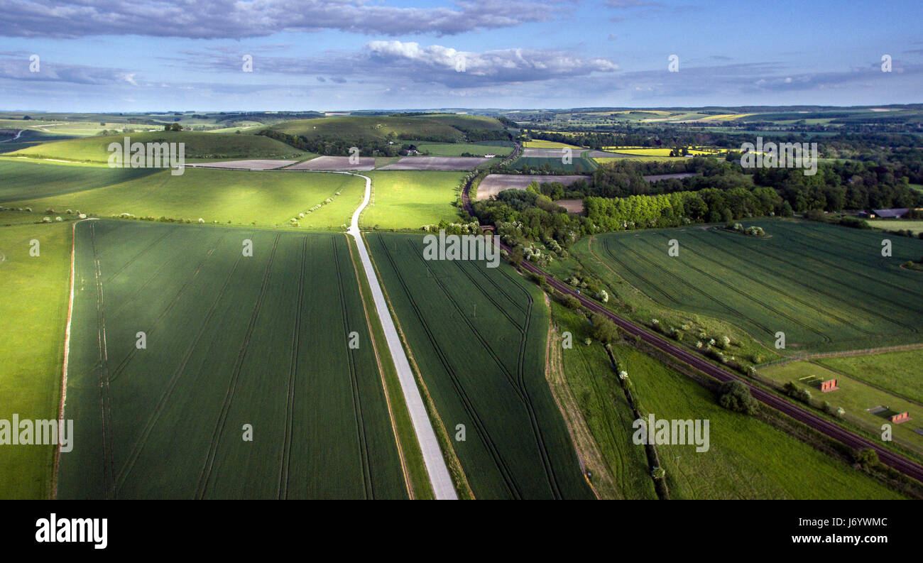 Aerial view over the Wylye Valley, near Warminster, Wiltshire, UK Stock Photo