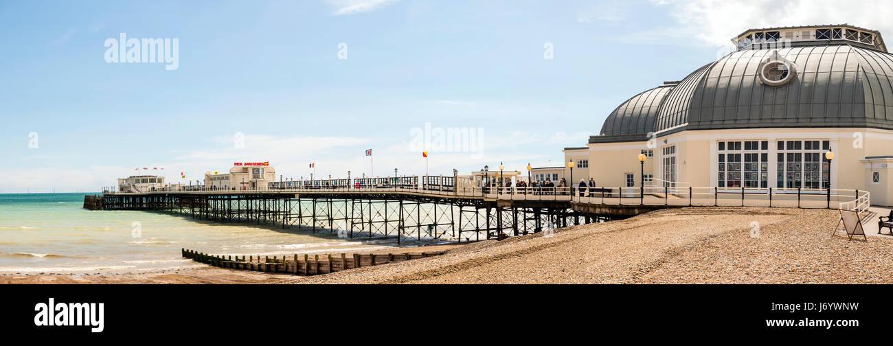 Worthing Pier panorama, West Sussex, UK - Stock Image