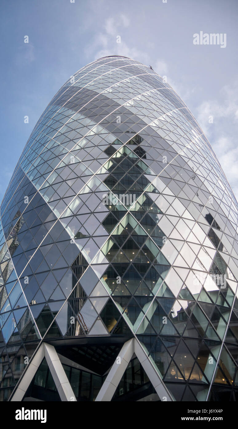 View of the Gherkin building (30 St Mary Axe). Gherkin - iconic symbol of London, one of city's most widely - Stock Image