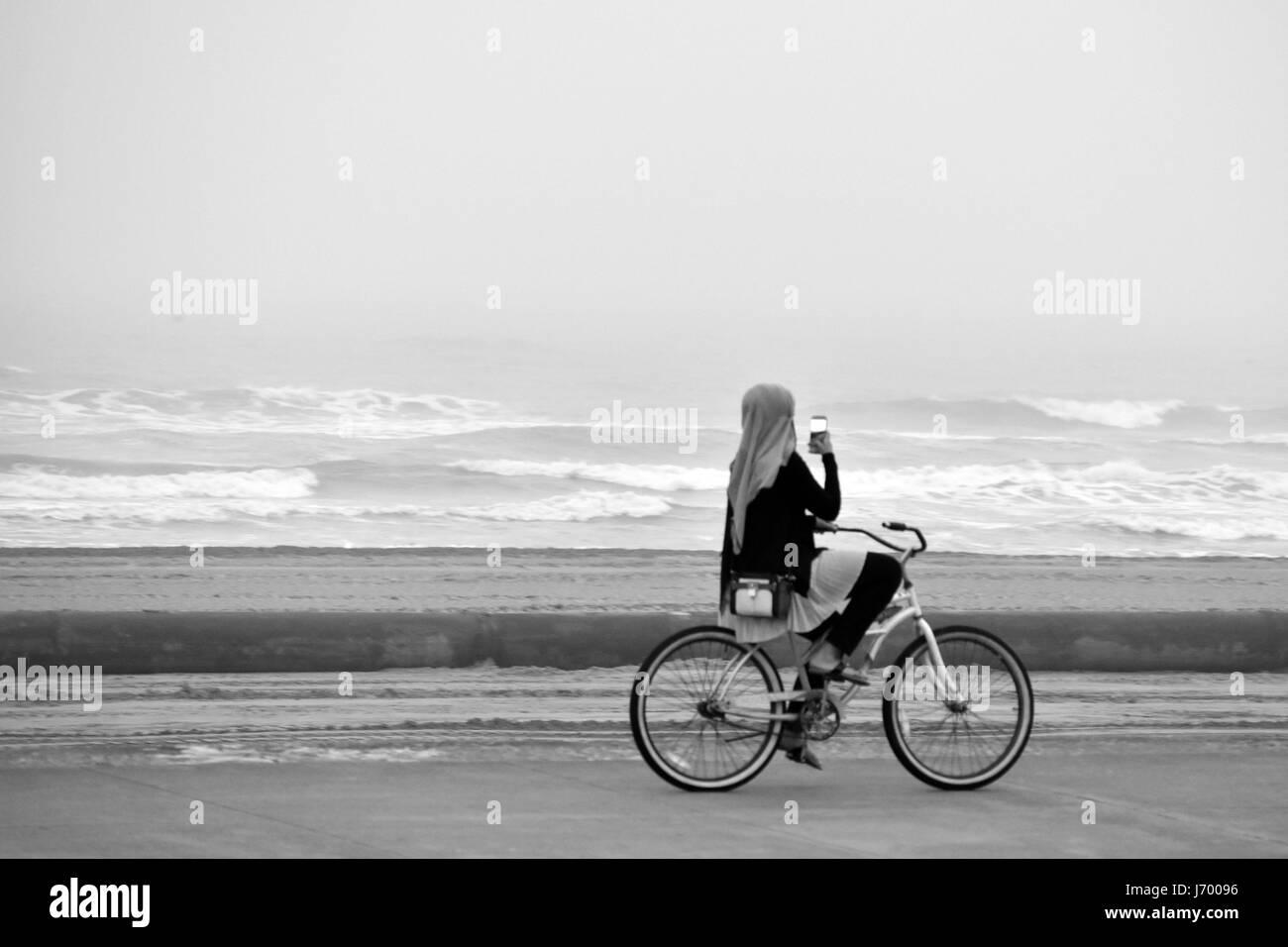 Beach Selfie Biker - Stock Image