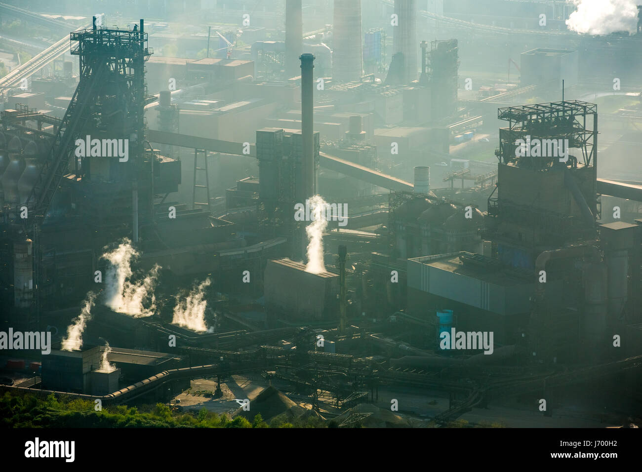 Steelworks ThyssenSteel, steel industry, heavy industry, mining industry, air pollution, emissions, chimneys, Rhine - Stock Image