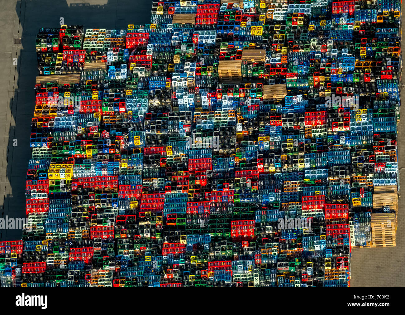 Colorful drink crates, empties, beer boxes like LEGO bricks, drinking hamm, drinks logistics, Hamm, Ruhr area, North - Stock Image