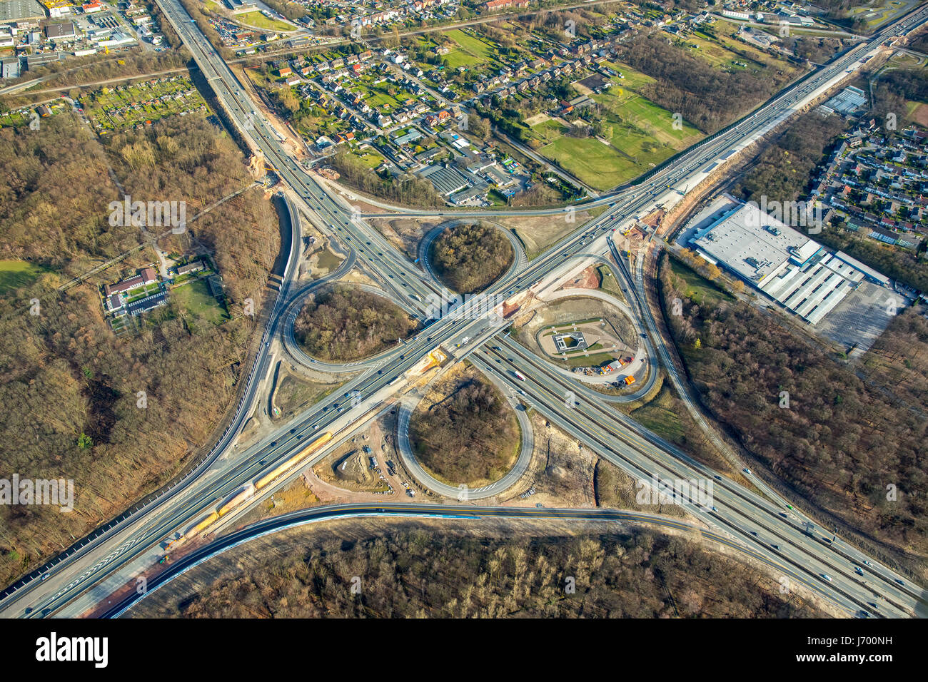 Expansion of the A43 motorway between Recklinghausen and Herne, Recklinghausen motorway junction, A2 motorway and Stock Photo